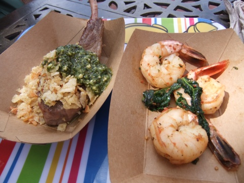 Grilled Lamb Chop with Mint Pesto & Potato Crunchies (left) and Garlic Shrimp with Roasted Tomatoes, Lemon Myrtle & Rapini