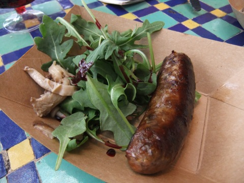 Venison Sausage with Pickled Mushrooms, Baby Arugula and Black Currant Reduction