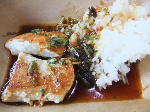 "Seared Mahi Mahi with Jasmine Rice & ""Singa"" Sauce"