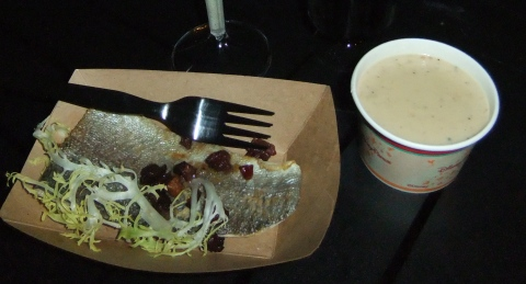 Seared Rainbow Trout with Bacon, Frisee and Maple Minus 8 Vinaigrette (left) and Canadian Cheddar Cheese Soup