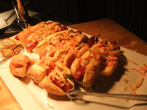 Kimchi Dogs on the appetizer table at the Food & Wine Preview Dinner
