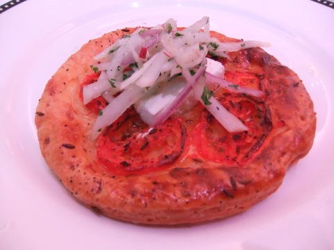 Tomato Tarte with Glazed Goats Cheese and Radish Salad