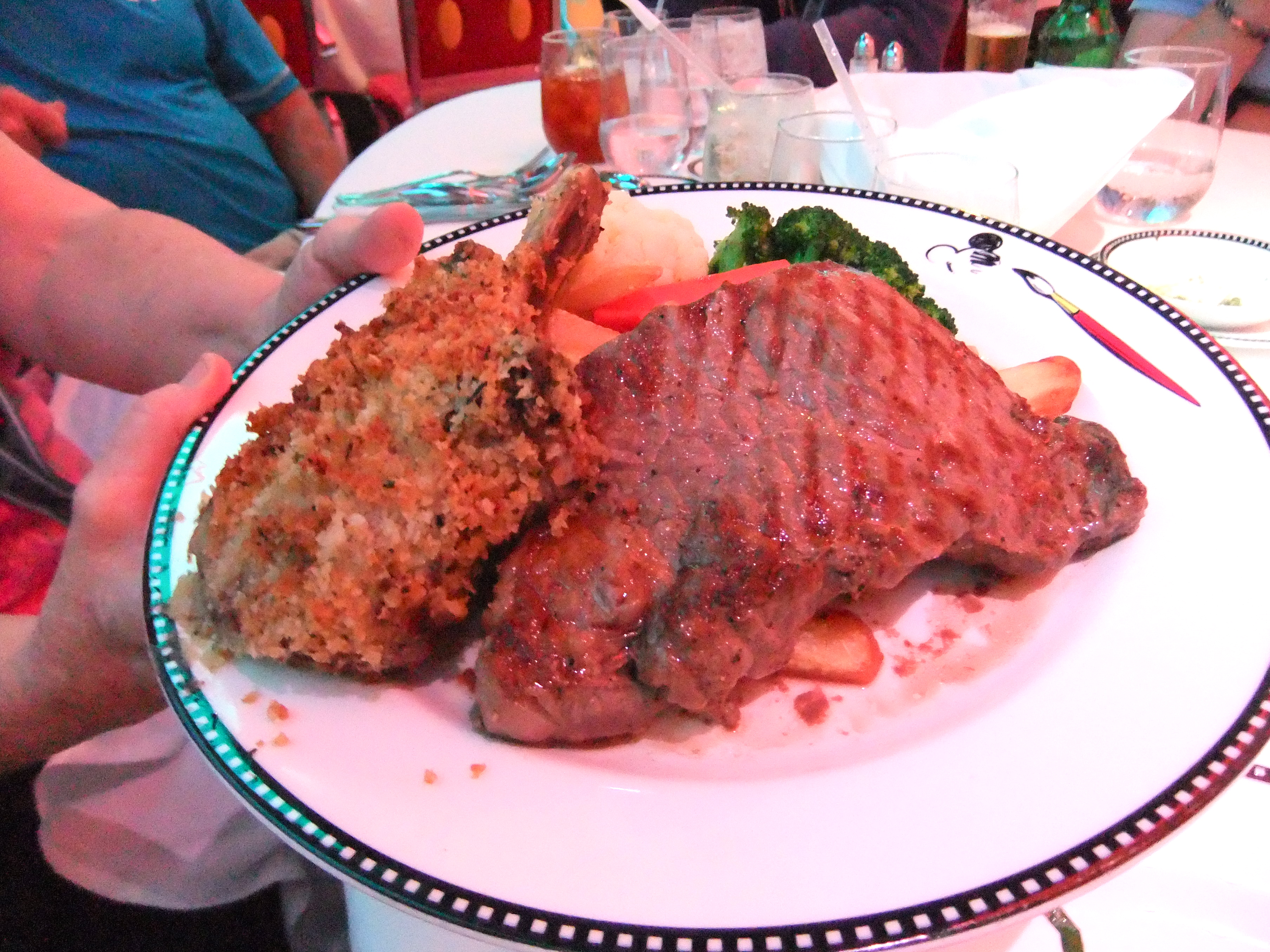 Herb Crusted Veal Chop, Grilled Sirloin, Steak Fries and Veggies ...