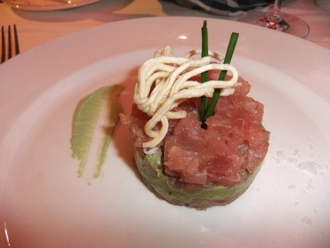 Ahi Tuna and Avocado Tower with Crispy Noodles and Wasabi Dressing