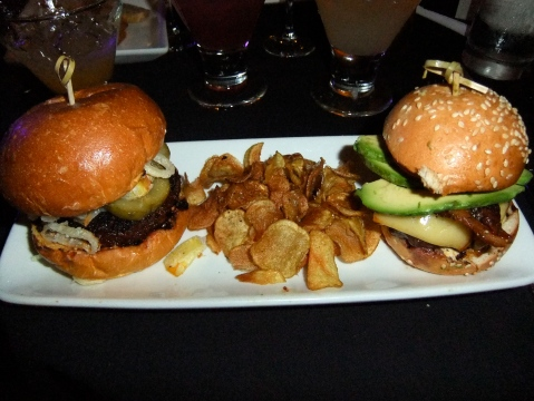 Derby Sliders - Wagyu beef with cognac-mustard aioli, smoked gouda cheese, bacon and avocado, AND house-made chorizo with chipotle mayo, manchego cheese, pickles and crispy onions Brown Derby Lounge Disney's Hollywood Studios Walt Disney World