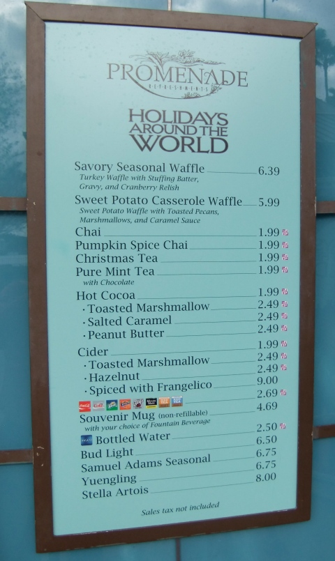 Holiday Menu at Promenade Refreshments