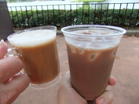 Hot Salted Caramel Drink and Caramel Mocha Iced Coffee Drink