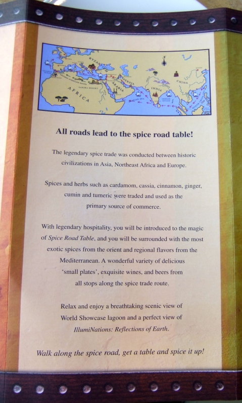 Back of the Spice Road Table Menu