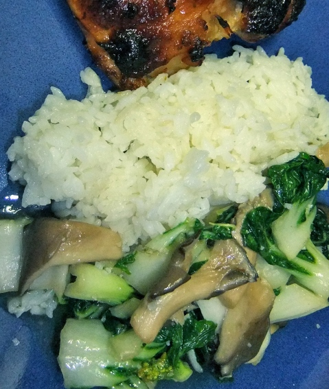 Bok Choy and Mushrooms (here with rice and roasted chicken)