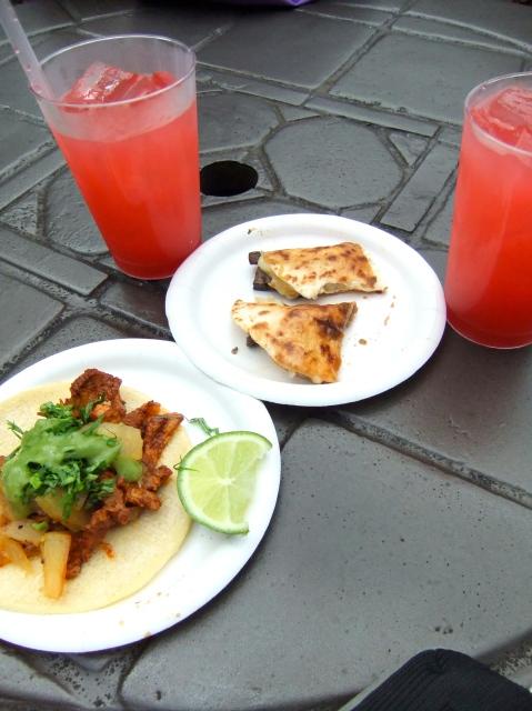 Taco al Pastor, Quesadilla de Hongos con Queso and Franbuesa Margaritas