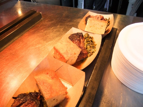 Brisket, greens and cornbread waiting to be served