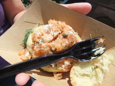 Baked Potato and Cheddar Cheese Biscuit with Smoked Salmon Tartar - a returning item in the UK from last year