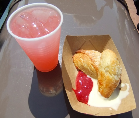 Rose Blush Lemonade and Lemon Scones with Berry Preserves and Creme Fraiche