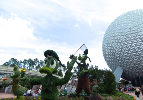 Topiary display at entrance area of Epcot for the 2014 Epcot International Flower & Garden Festiva