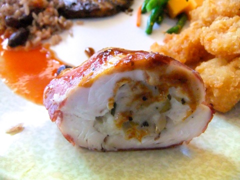 Alsatian Stuffed Chicken Breast (with some Fried Shrimp lurking in the background...)