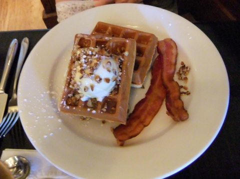 Classic Golden Waffle with Whipped Mascarpone Cheese, Honey, Chopped Pecans and Bacon