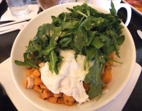 Turkey-Sweet Potato Hash - with Two Eggs and Arugula Salad