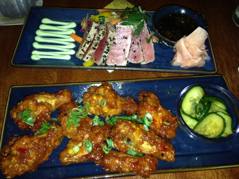 Seared Ahi Tuna (top) and Thai Chili Chicken Wings