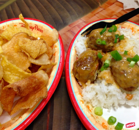 Capt. Cook's Chips and Thai Coconut Meatball on Rice