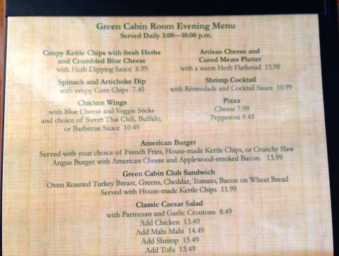 Green Cabin Room Afternoon/Evening Menu