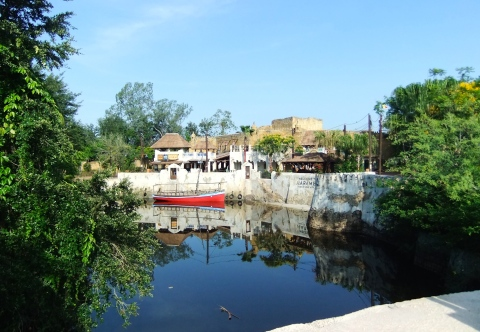 View of the new Harambe Theater as you cross the bridge into Africa
