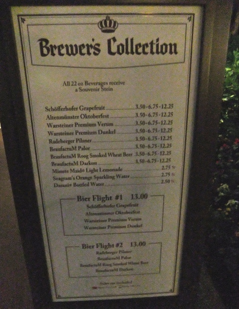 Brewer's Collection Menu from 2013