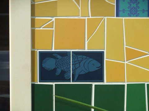 A close-up view of some of the tiles that sure looks like, of all things, a Coelacanth! Would sure be more interesting if they were serving those instead of Tilapia! But then, I guess Coelacanth aren't exactly sustainable (and also from no-where-near Brazil...)...