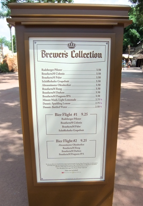 Brewer's Collection Menu from 2014
