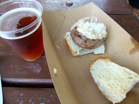 Florida Grass-Fed Beef Slider with Pimento Cheese and a Sam Adams Octoberfest