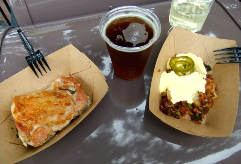 "Griddled ""Yard Bird"" and Pepper Bacon Hash with an I-4 IPA and Eroica Riesling from the Farm Fresh booth"