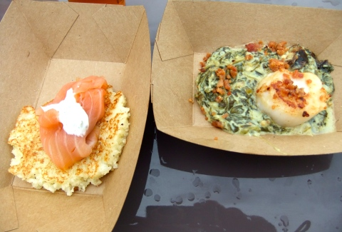 Potato Pancake with Smoked Salmon and Seared Sea Scallop with Spinach-Cheddar Gratin and Crispy Bacon from Scotland