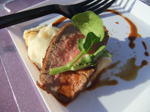 Carved Prime Rib with Roasted Garlic mashed Potatoes, Horseradish Creme Fraiche and Watercress