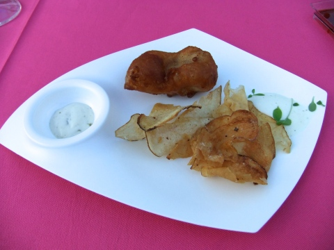 "On Saturday Garden Grove served Fish 'n' Chips: Beer-battered Sustainable Bass with Tartar Foam and Vinegar ""Chips"""