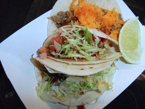 Beef, pork and veggie tacos...